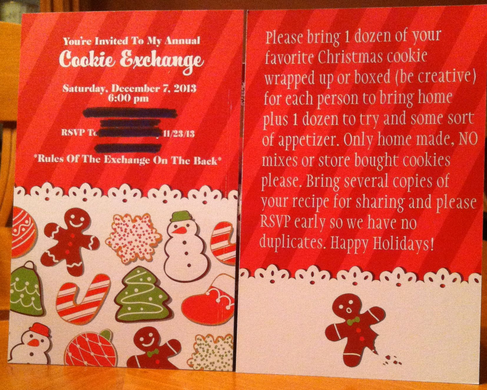 Invitations from Vista Print for my 2013 Cookie Exchange Party ...