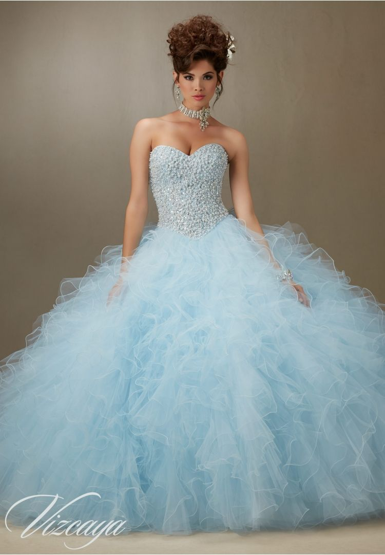 Quinceanera dresses by Vizcaya Pearl Beaded Bodice on a Ruffled ...