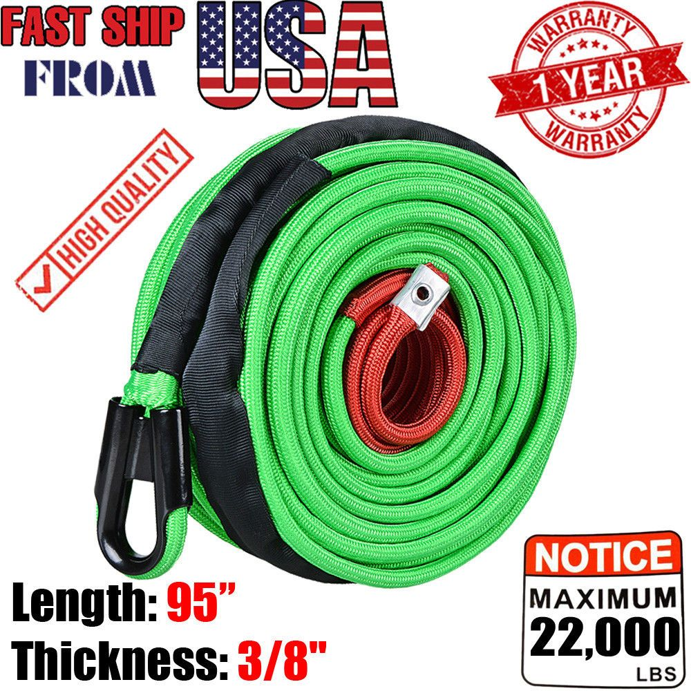 3 8 X95 22000lbs Synthetic Winch Rope Cable Line Guide Lead Recovery For Truck Synthetic Winch Rope Winch Rope Parts And Accessories