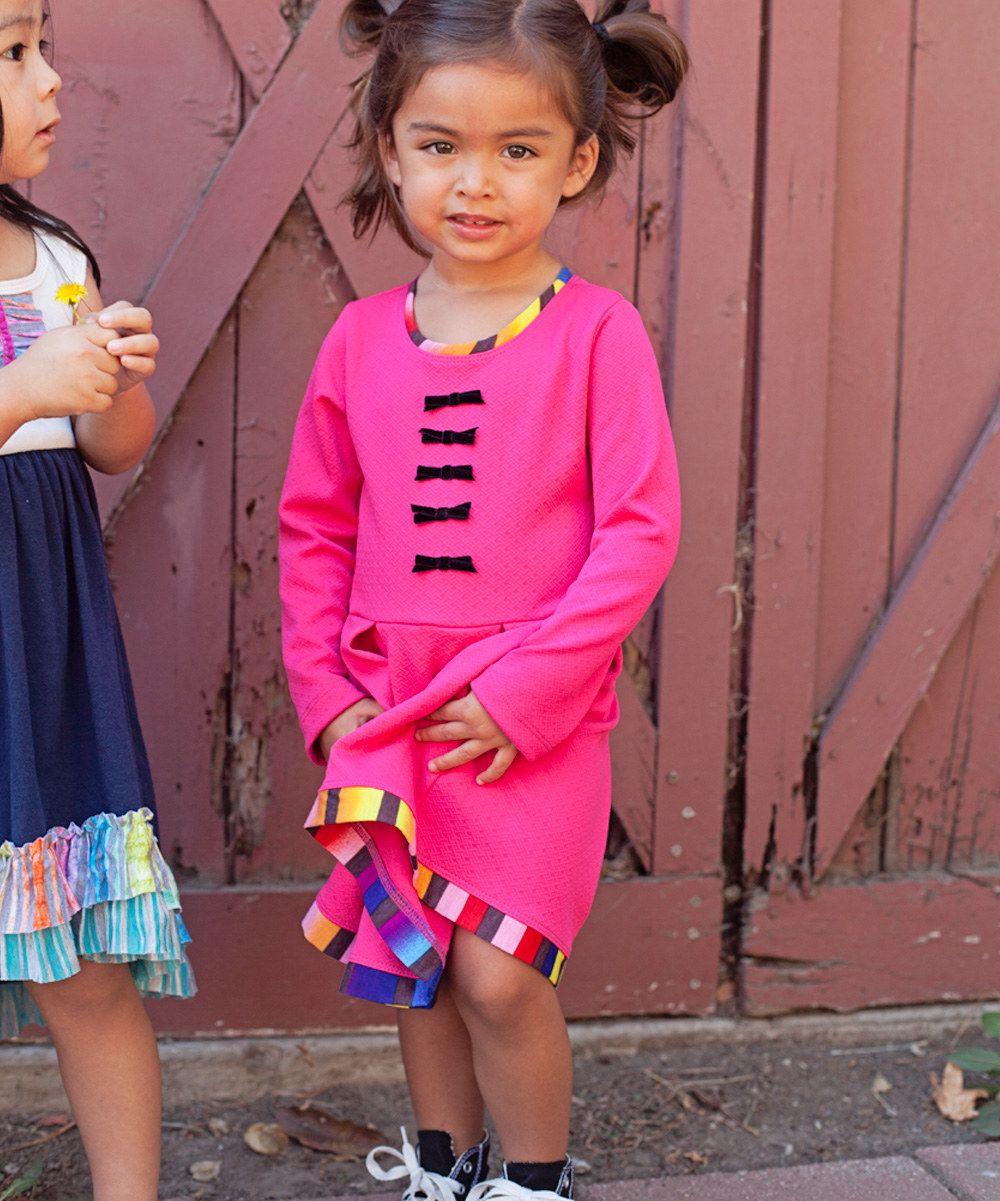 Hot Pink Bow Dress - Toddler & Girls