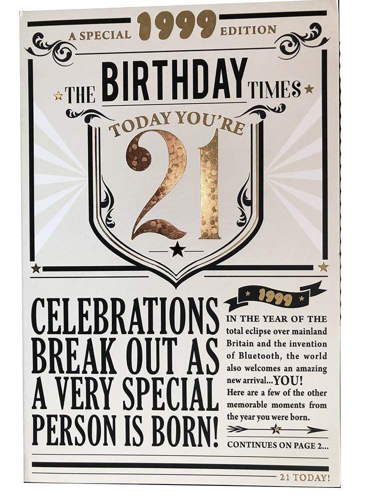 21st birthday card 1999 year you were born male newspaper