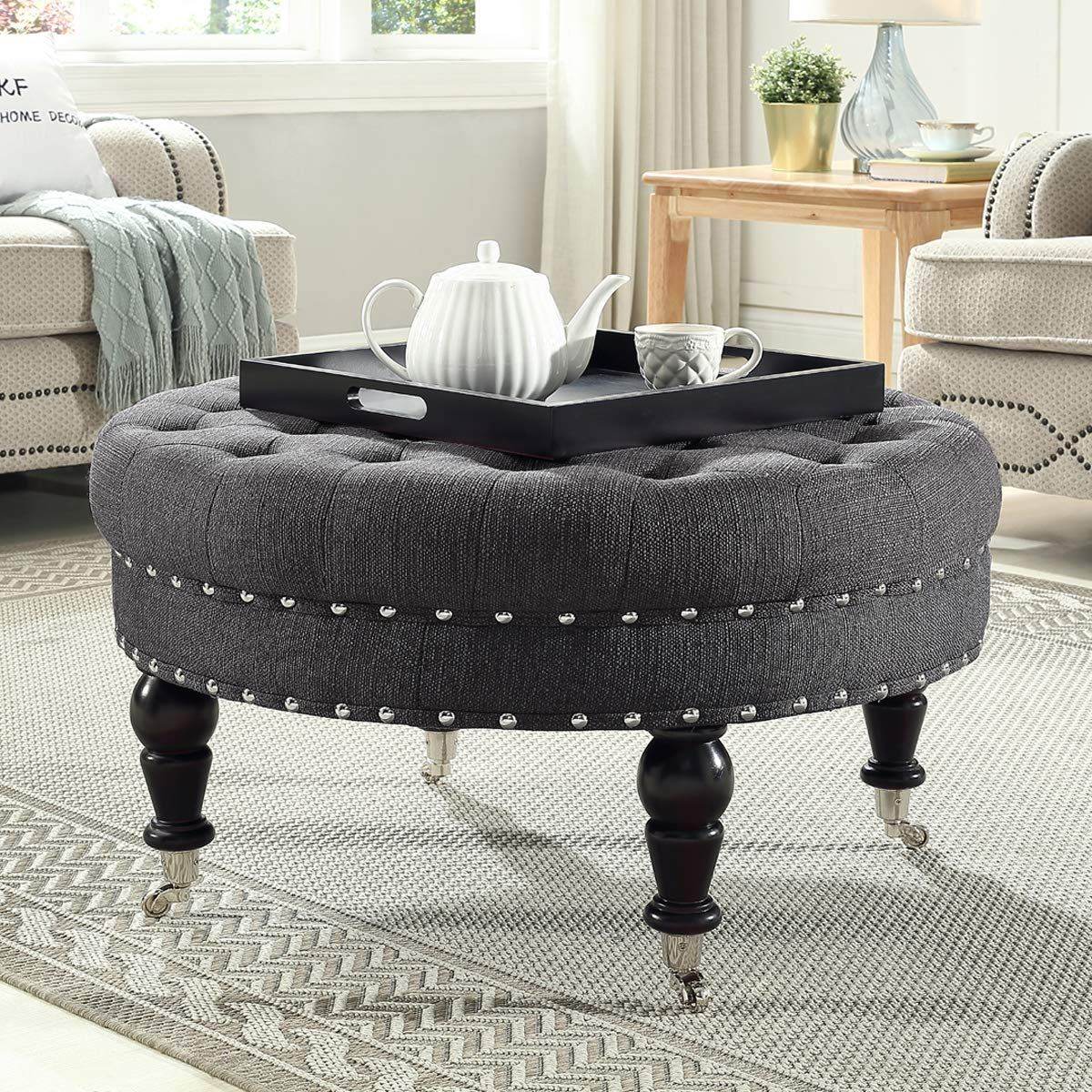 24kf Large Round Upholstered Tufted Button Linen Ottoman Coffee Table Large Footrest Bench With Caters Rolli Ottoman Coffee Table Linen Ottoman Ottoman Coffee [ jpg ]