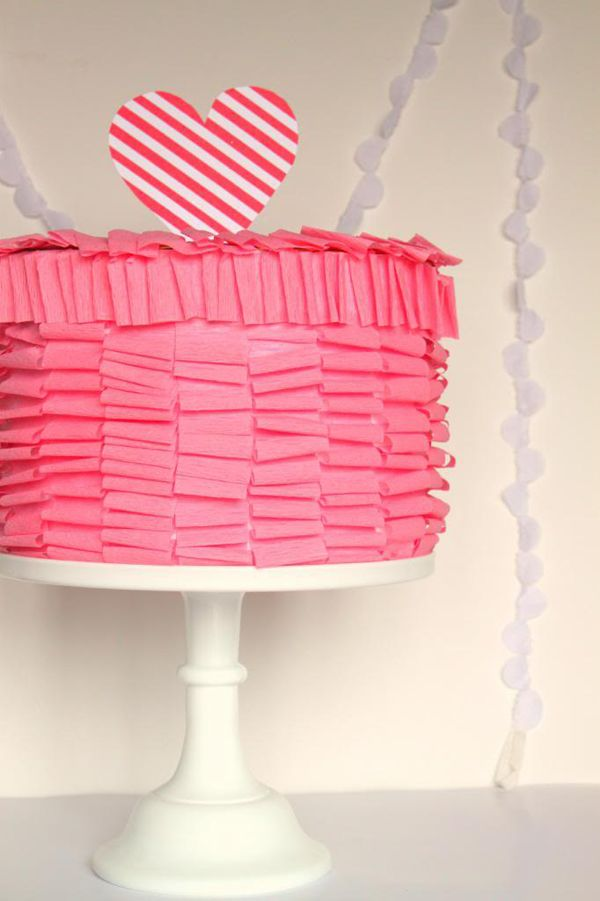 DIY Pink Ruffle Cake Valentine Box. See more DIY Valentine Box Ideas on www.prettymyparty.com.