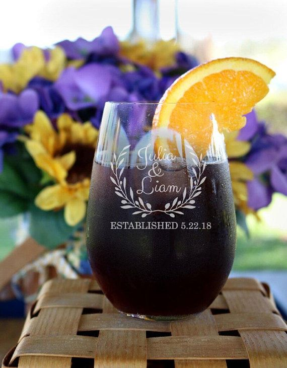 Personalized Wedding Wine Glass Wedding Glasses Wedding Wine