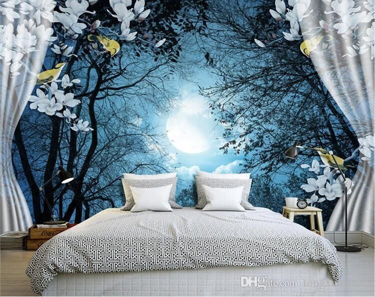 3d Wall Mural Wall Paper Natural Scenery Peaceful Night Forest