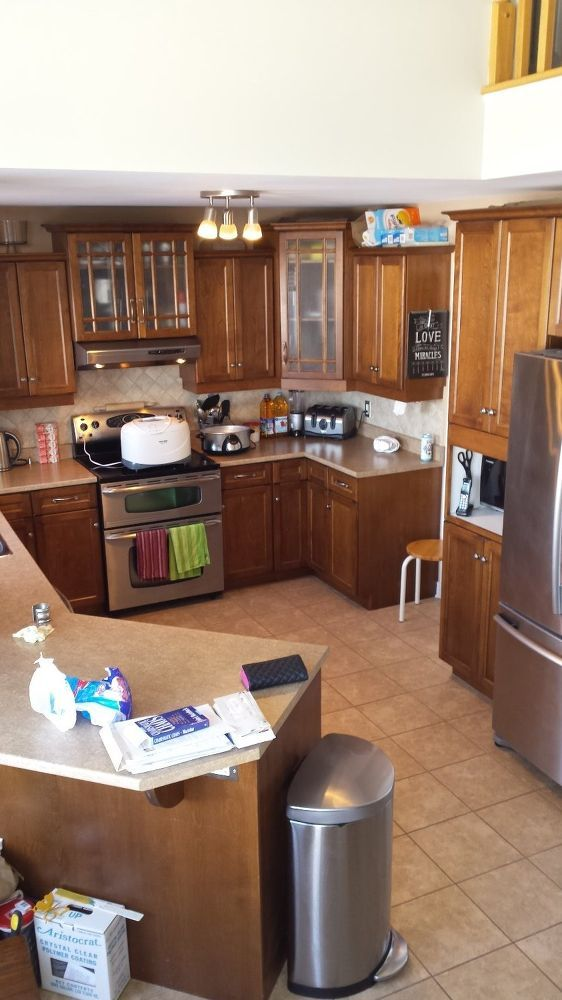 My Kitchen Was Dark And Depressing Always Wanted A White So Without Sanding Cabinets Primed Stix Primer From Bmoore Painted The
