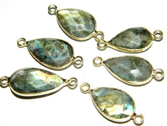 6 PiecesFramed Blue Flashy Labradorite by GemsPebblesandBeads, $45.00