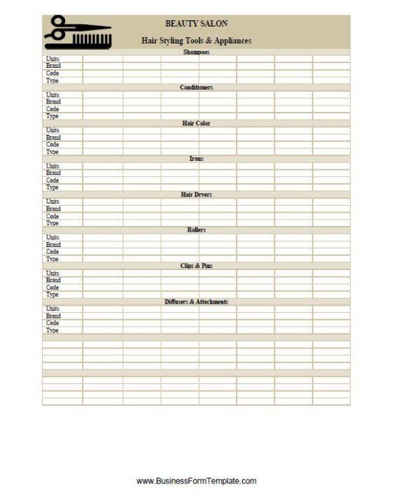 Salon Inventory Sheet Template | Inventory Sheet Templates ...