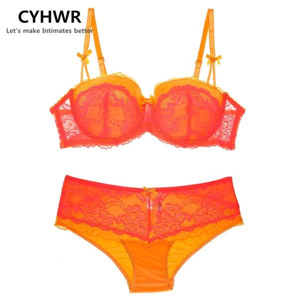 CYHWR Brand Women S Sexy Lace Push Up Underwear Set Bow Deep V Bras For  Large Sizes 66380c0a5