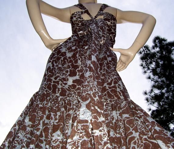 Mermaid Prom Dress Brown Opal Sheer Abstract Floral Fishtail Gown