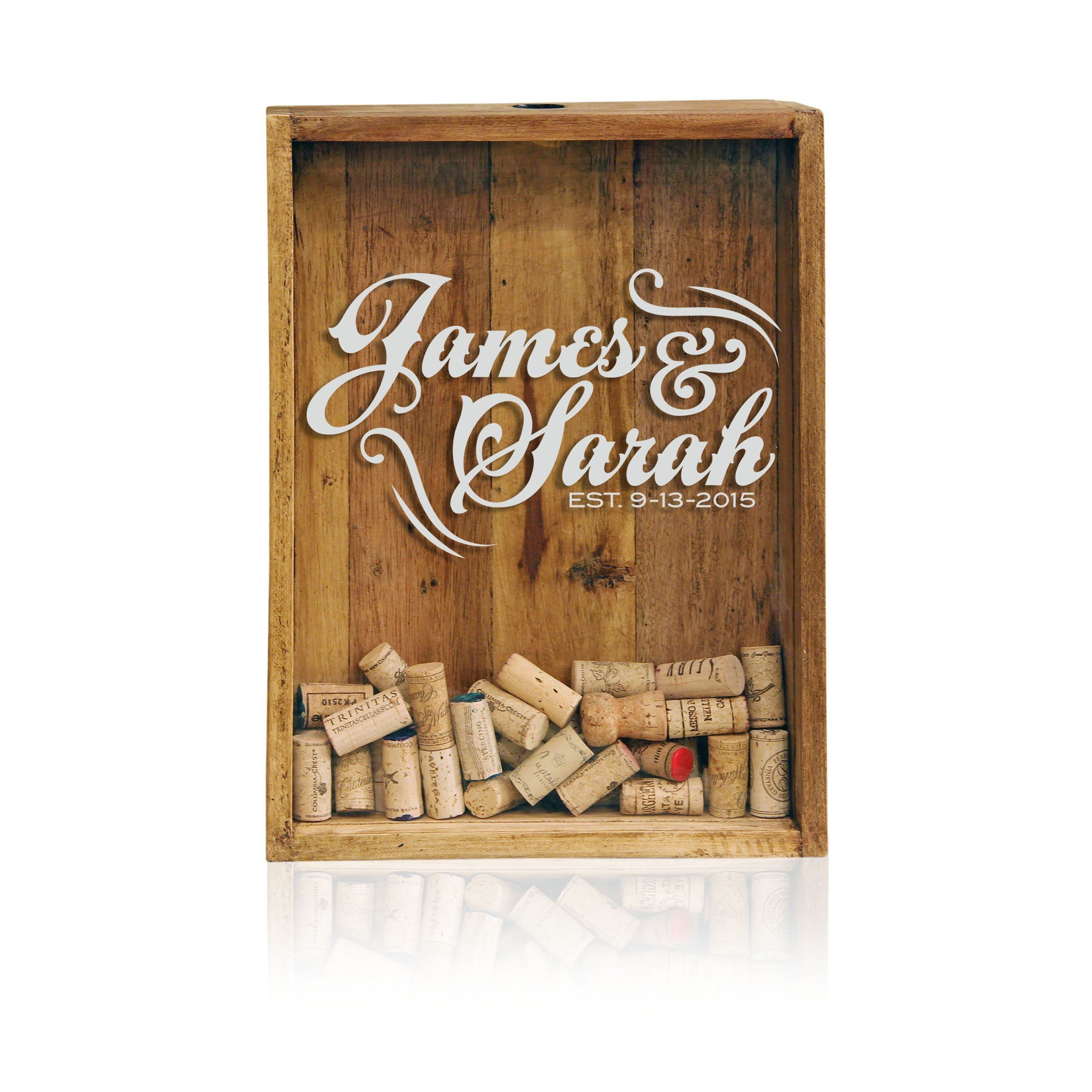 """12x16 Wine Cork Holder - Monogrammed- Shadow Box Display - Wedding Guest Book - Personalized Wine Cork Holder. The Original Wine Cork Drop Box - hand crafted and customized by us, brought to life by you! Wine Corks now have a place to call home. Product Description: """"12x16 Reclaimed Wood Collection"""" This box is built out of 100% reclaimed wood. It's coated with a natural beeswax finish to enhance the woods natural beauty and imperfections. Complete with removable acrylic glass, laser…"""