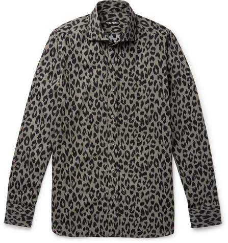49f5aa5d8ca9 Tom Ford Slim-Fit Leopard-Print Cotton-Blend Shirt | Products in ...