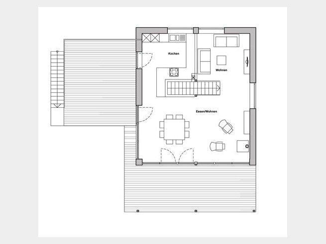 grundriss dg kohaus green obergeschoss mit einem einzigen offenen won ess und kochbereich. Black Bedroom Furniture Sets. Home Design Ideas