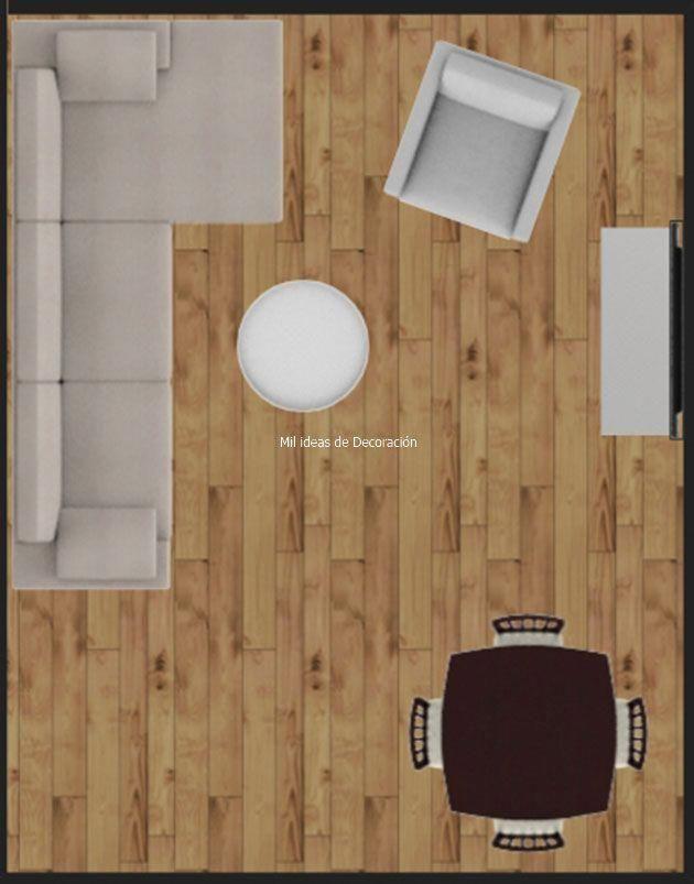 Plano distribución de salón comedor rectangular ...