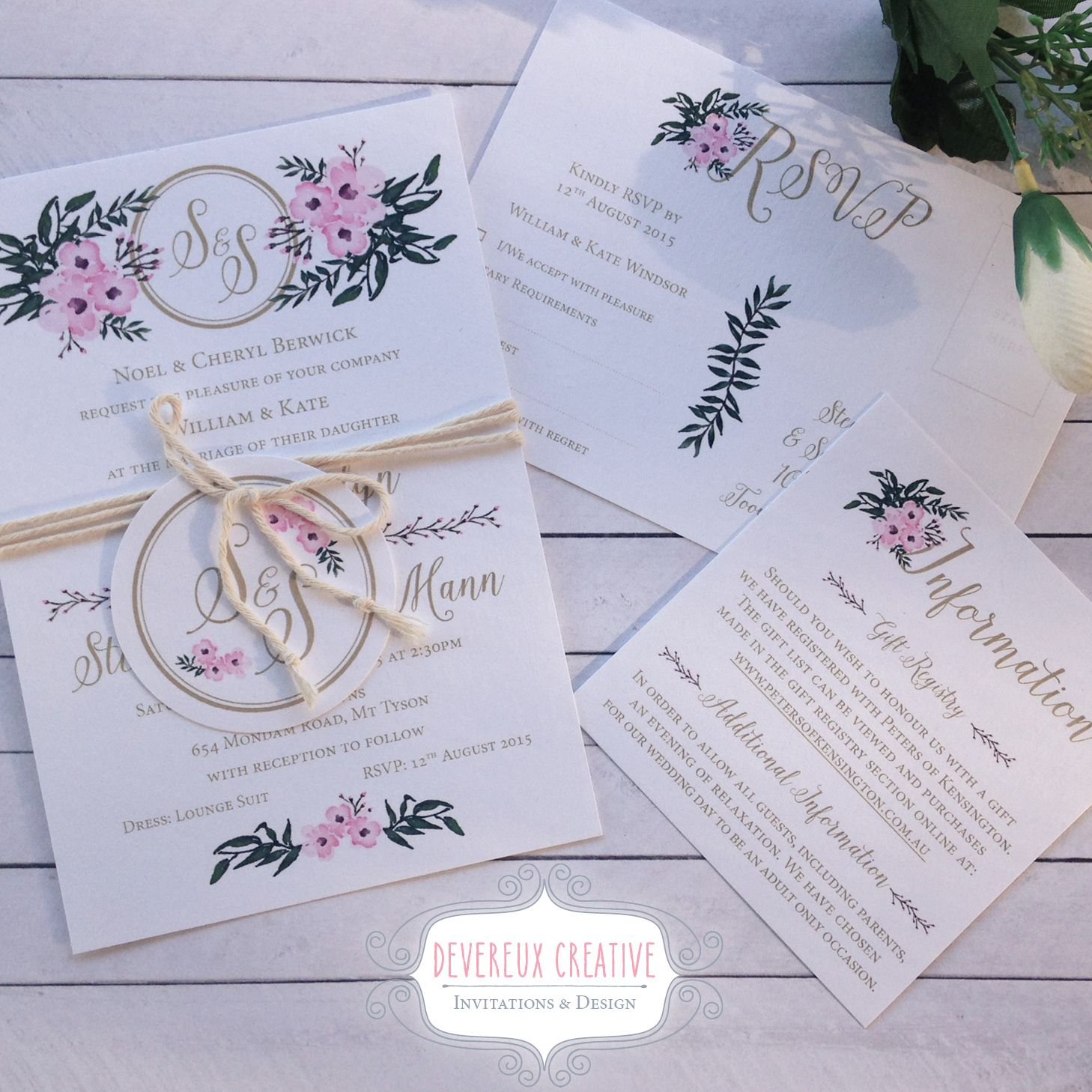 Floral wedding invitation with twine and monogram tag | Wedding ...