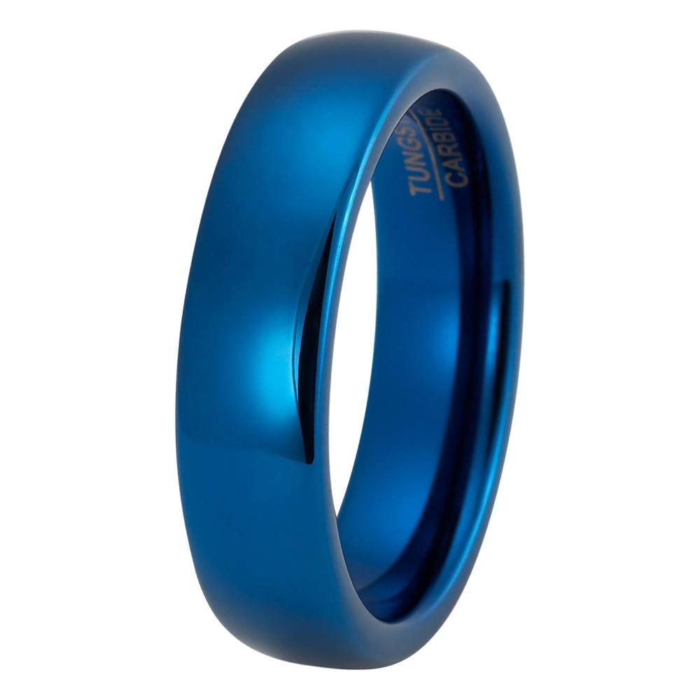 Blue Wedding Band Tungsten Carbide Mens Man Engagement Ring Male Anniversary Promise High Polished 6mm Matching Scratch: Blue Male Wedding Band At Reisefeber.org