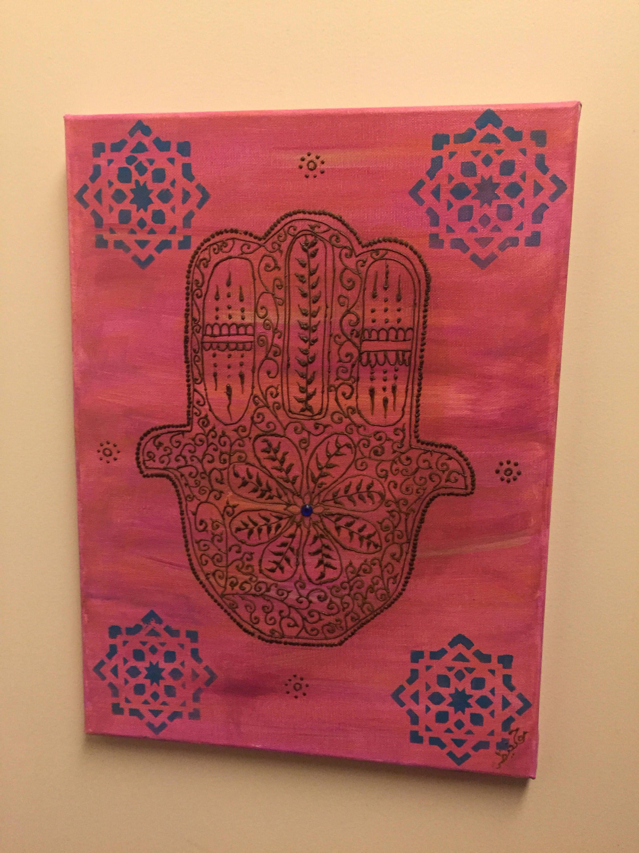 "Hamsa Wall Art moroccan hamsa wall art, moroccan art, henna wall art, ""henna art"