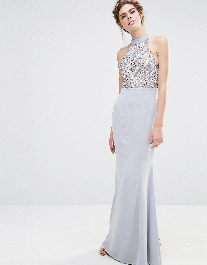 Wedding dress with bow on back  Image  of Jarlo Wedding High Neck Lace Maxi Dress with Bow Back