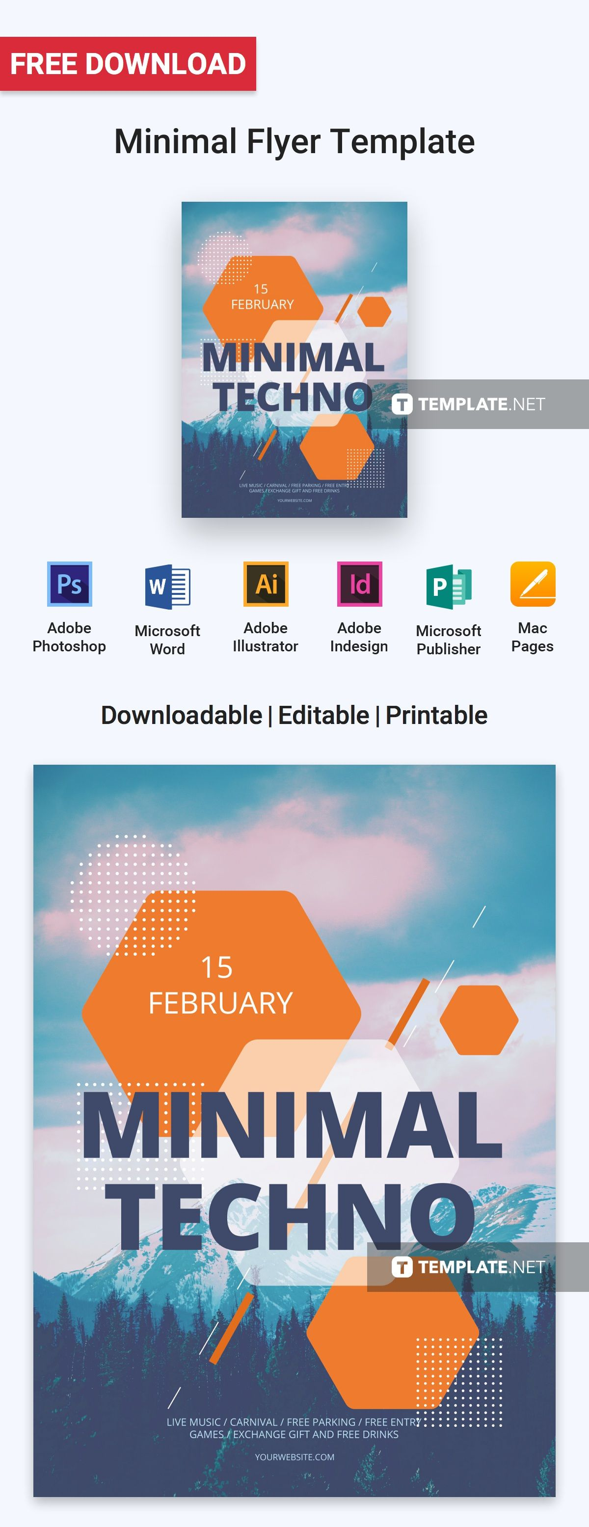 Free Minimal Flyer Flyer template, Free flyer templates