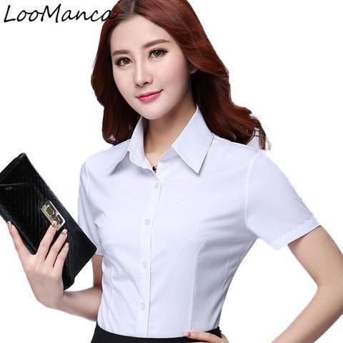 73b412faf90 Fashion women short sleeve shirt 2018 New summer formal ol elegant blouse  white chiffon office work wear plus size clothes tops