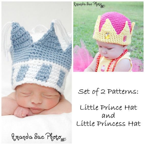 Set of 2 Crochet Patterns-Little Prince and Princess Hats-Includes ...