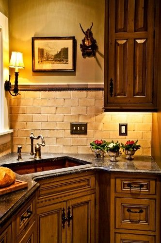 Pin By Bonnie Wies On House Rustic Kitchen Cabinets Corner Sink Kitchen Home Kitchens