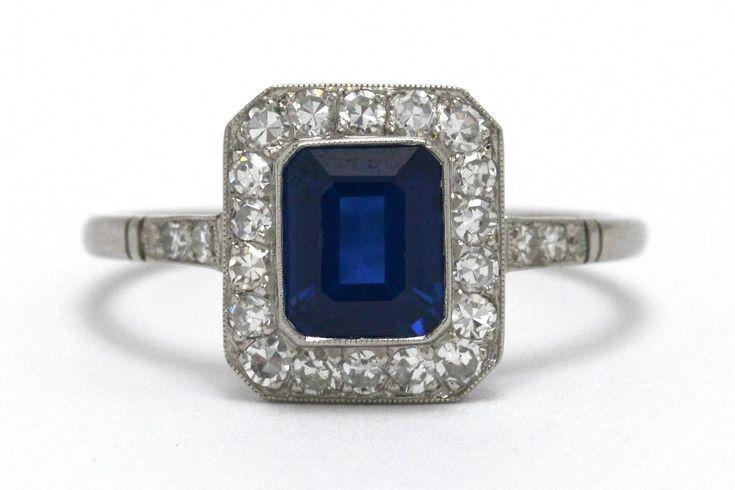 Emerald Cut Blue Sapphire Diamond Halo Platinum Ar