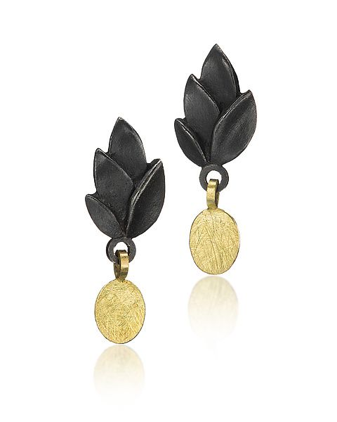 Black+Leaves+Earring+with+Gold+Drop by Giselle+Kolb: Gold+&+Silver+Earrings available at www.artfulhome.com