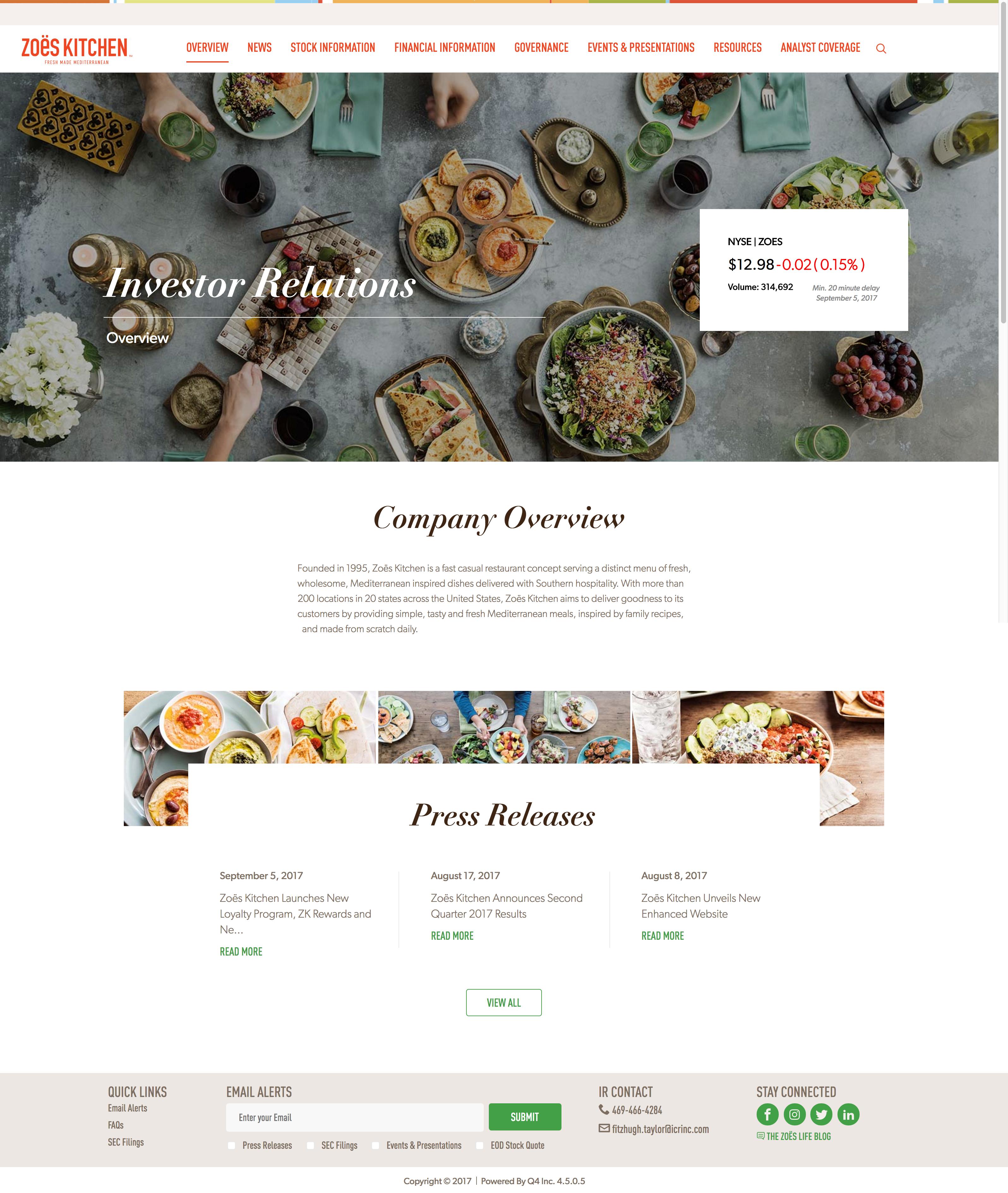 Zoes Kitchen - Restaurants, IR Responsive, Q4 site redesign | IR ...