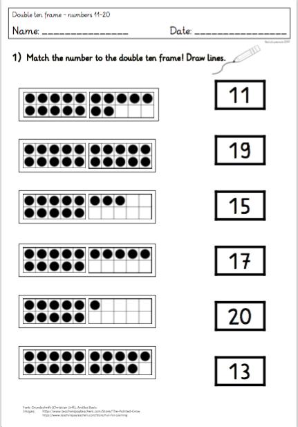 2 Arbeitsblätter: Zahldarstellung im Double Ten Frame/ 20er Feld ...