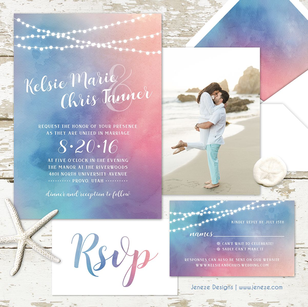 Watercolor wedding invitations Light strands with pretty but bold