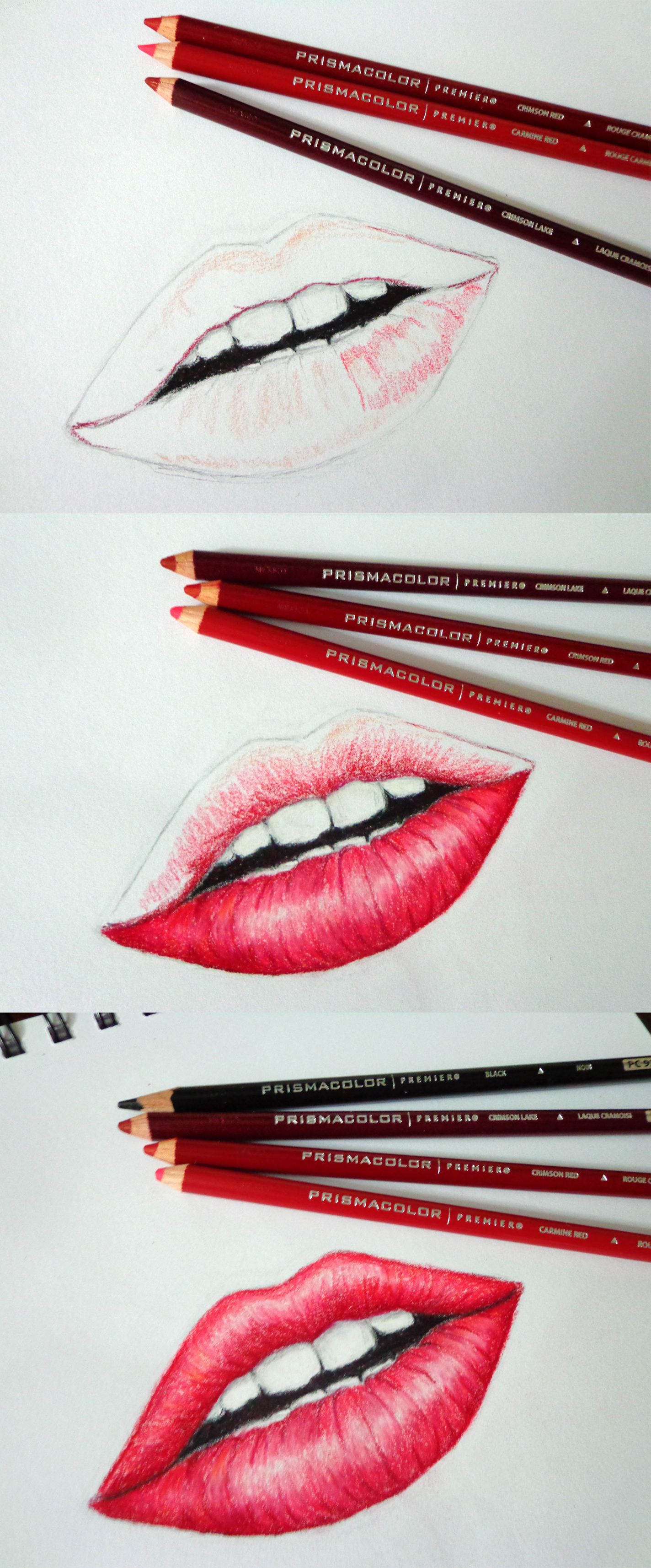 Lips Wip By Fiorerose Prismacolor Pencils Sketch