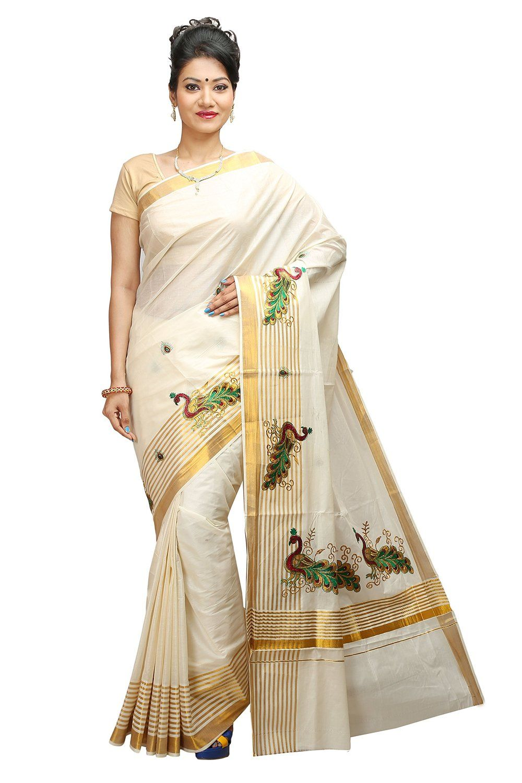 10c4f192c31c65 JISB stripe zari Peacock Embroidered kerala kasavu saree with running Blouse …