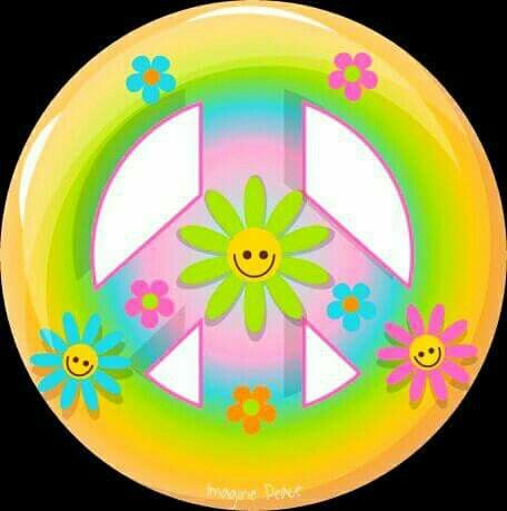 Peace Sign Two Sided Decorations Peace Flower Power And Hippie Art Peace Sign With Color On Inside