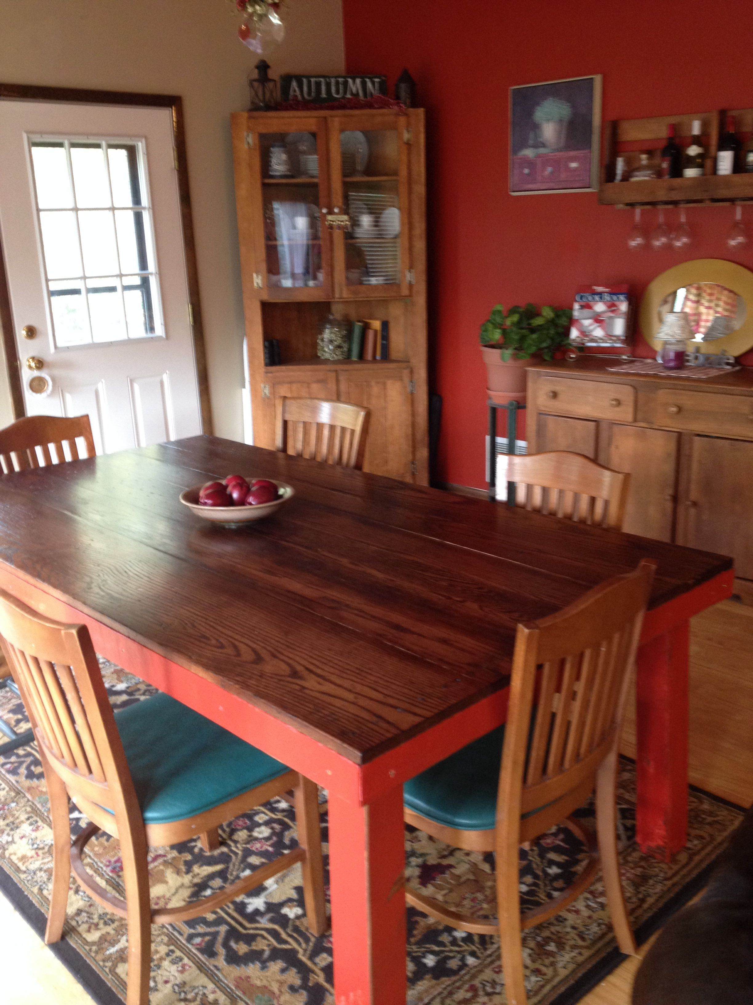 Homemade Farmhouse Kitchen Table Wanted a table that was