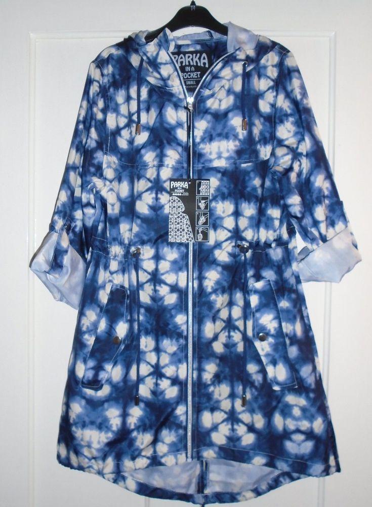 c83a81b8a8a66 ... Details about LADIES BLUE & WHITE PARKA IN A POCKET Pac A Mac Rain Coat  Jacket TailorsBeautique: The Pink Primark ...