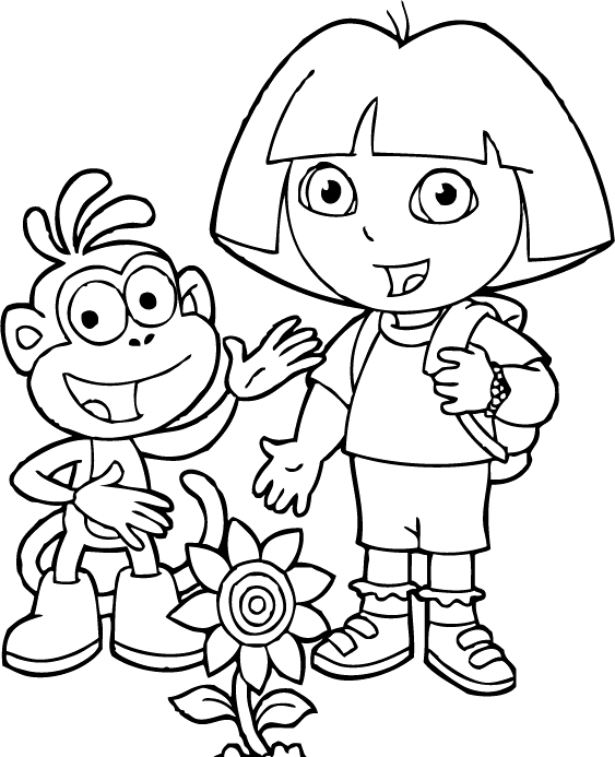 Dora And Friends With Flowers Coloring For Kids Dora The Explorer Cartoon Coloring Pages Cartoon Coloring Pages Coloring For Kids Dora And Friends