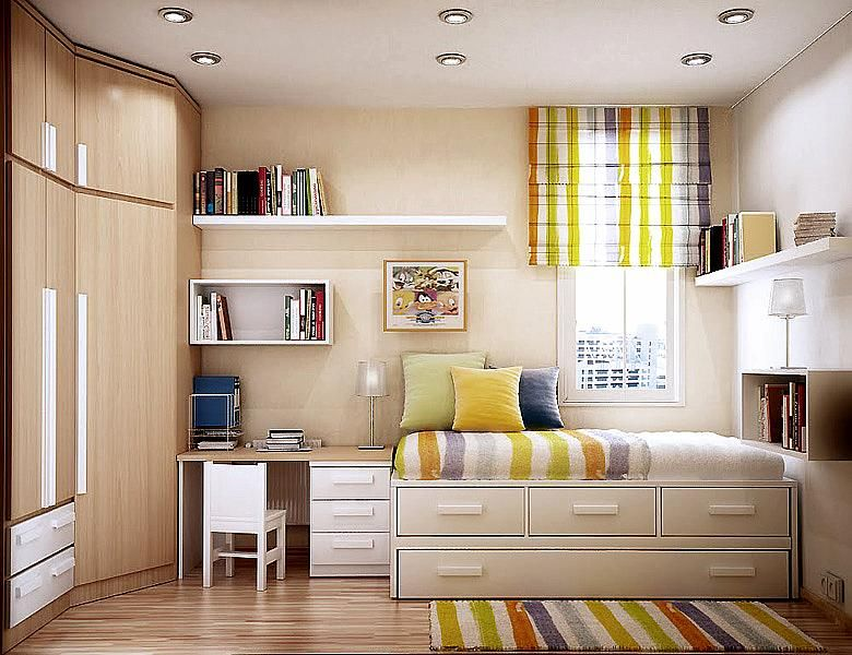 compact bedroom furniture. Small Bedroom Ideas For Adding Space: Drawers Under Bed Which Doubles As Seating, Extra Compact Furniture 2