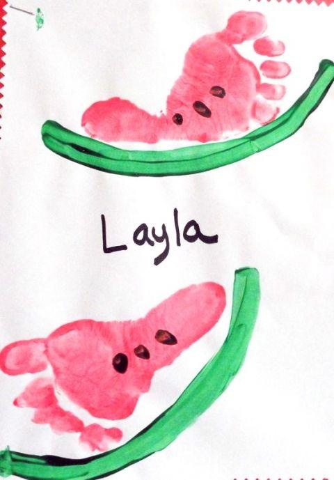 Footprint Watermelon Craft For Kids Zomer Pinterest