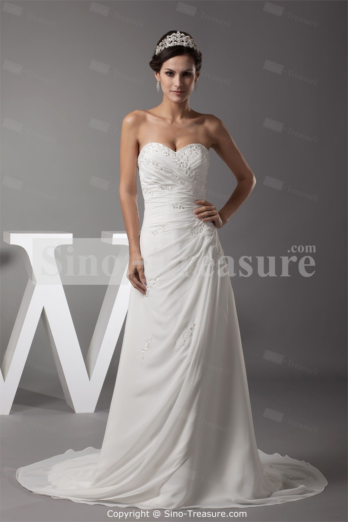 Strapless Beaded Embroidery And Ruffle Floor Length Chiffon Dresswithout That Ugly Tiara