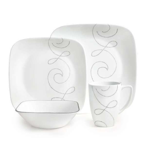 Corelle Square Endless Thread 16-piece Dinnerware Set - Overstock Shopping - Great Deals on Corelle Casual Dinnerware  sc 1 st  Pinterest & Corelle Square Endless Thread 16-piece Dinnerware Set (White ...