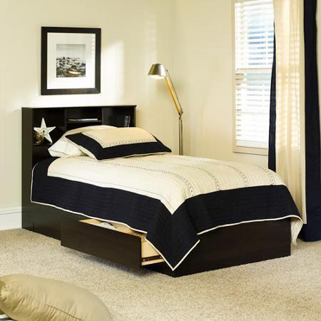 Twin Xl Platform Bed With Bookcase Headboard 3 Storage Drawers