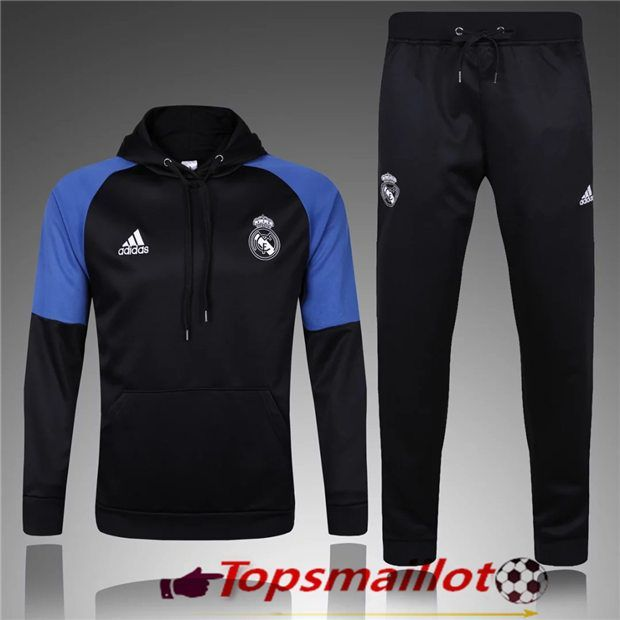 Le Sweat Capuche Survetement Real Madrid Noir Blue 2017 2018  da8bc31ab0cfd