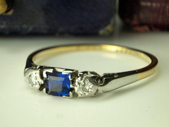 Sapphire Diamond Ring  Platinum 18k Gold by BelmontandBellamy