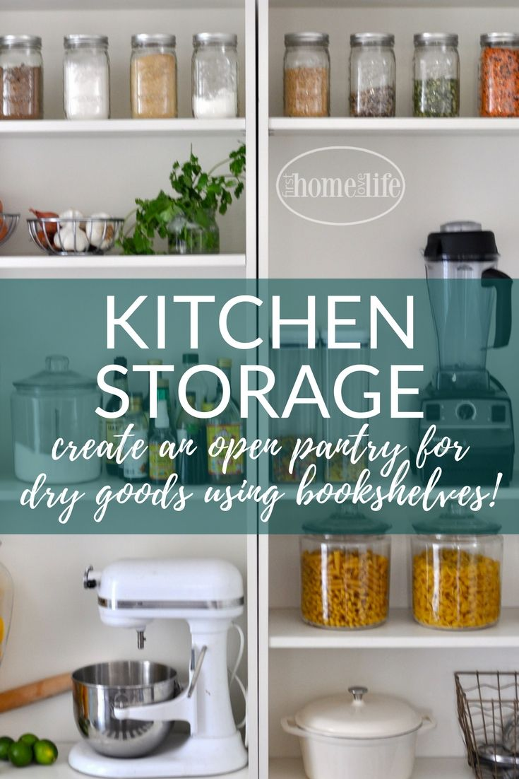 Open Pantry Using Bookshelves | Open pantry, Kitchen storage ...