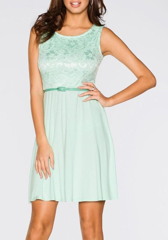 Green Patchwork Lace Belt Round Neck Sleeveless Mini Dress
