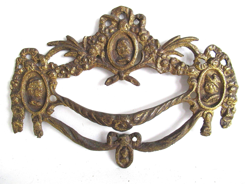 1 (ONE) Antique Drawer Handle. Ornamental Furniture Applique. Drawer ...