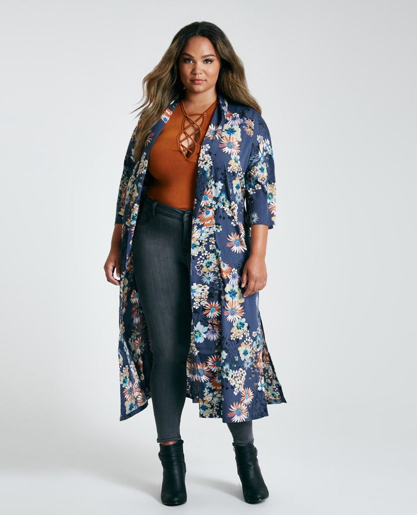 Plus Size Belted Floral Print Duster Kimono | Wet Seal Plus | TOPS ...