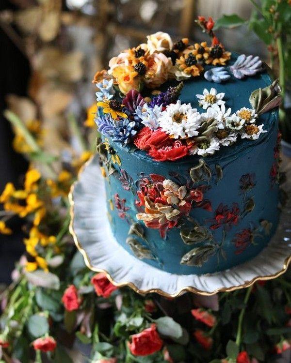 handbemalte Buttercreme Hochzeitstorte - Bilder Hochzeit #buttercream