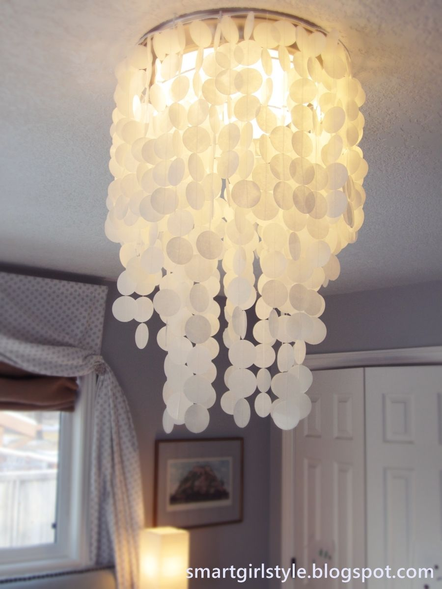 Laminated rice paper faux capiz shell chandelier diy